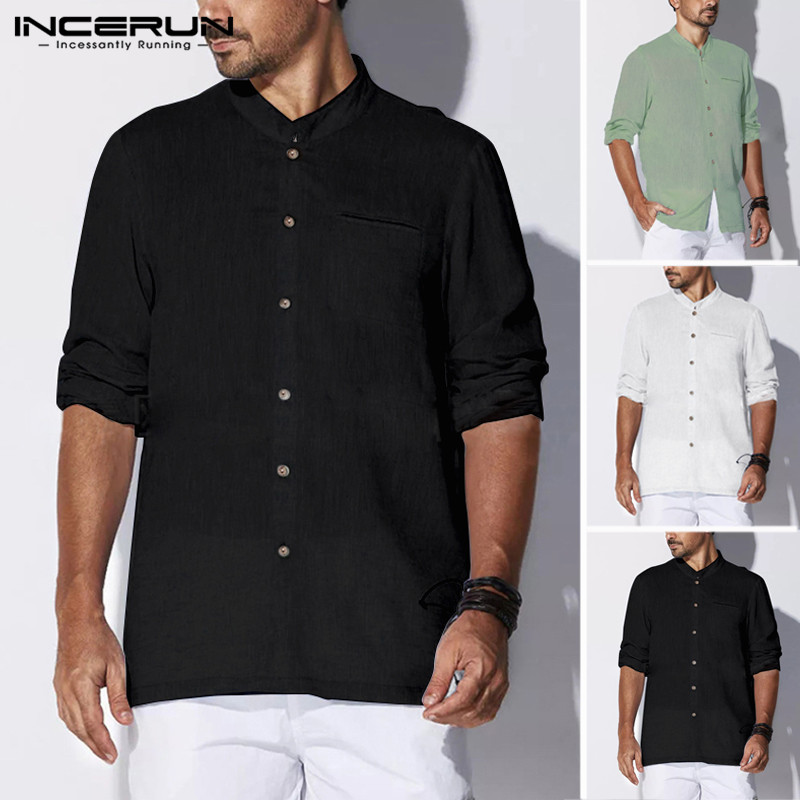 INCERUN Long Sleeve Men Casual Shirt Button Cotton Solid Stand Collar Retro 2020 Vintage Brand Shirts Men Camisa Masculina 5XL