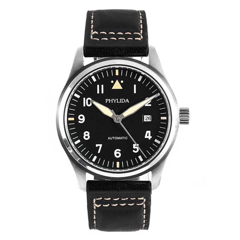 42mm Black Dial Spitfire Pilot's Watch 5ATM JAPAN MIYOTA Automatic Domed Sapphire Crystal Lumed Genuine Leather Strap PHYLIDA