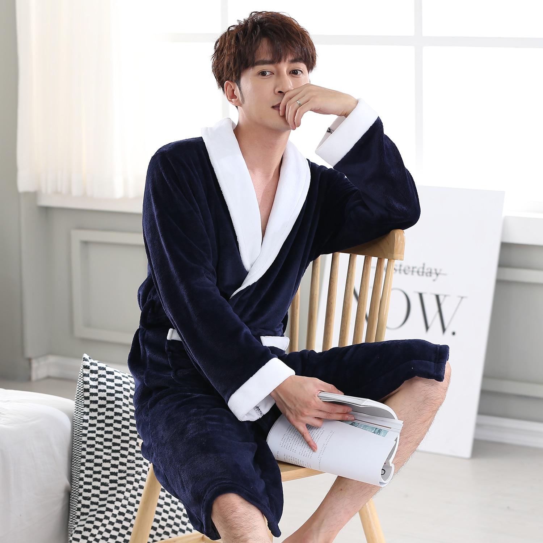 Men Navy Blue Bathrobe Gown Autumn Winter Coral Kimono Robe Warm Sleepwear Nightwear Short Flannel Home Clothing Soft Negligee
