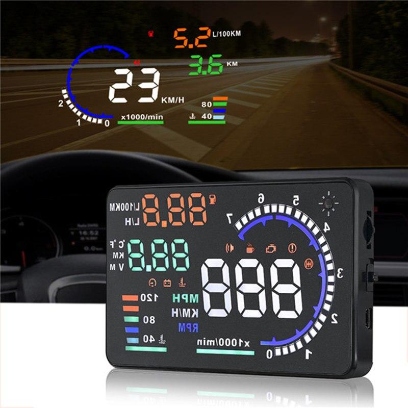 Universal a8 5.5 Polegada carro hud cabeça up display obdii velocidade de aviso consumo combustível automóvel sistema alarme do carro