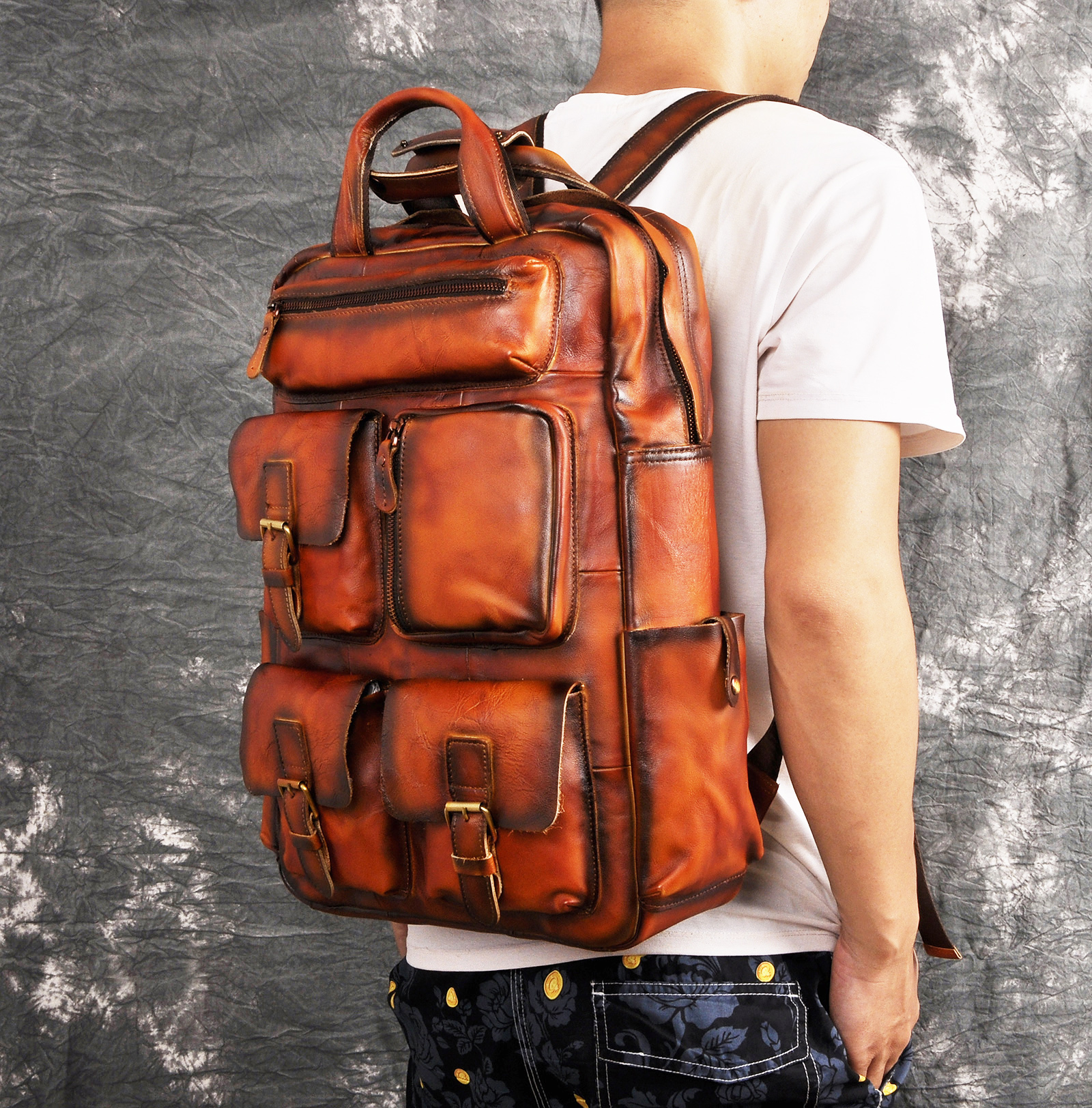 Design Male Leather Casual Fashion Heavy Duty Travel School University College 17 Laptop Bag Design Backpack Daypack Men 1170-o image