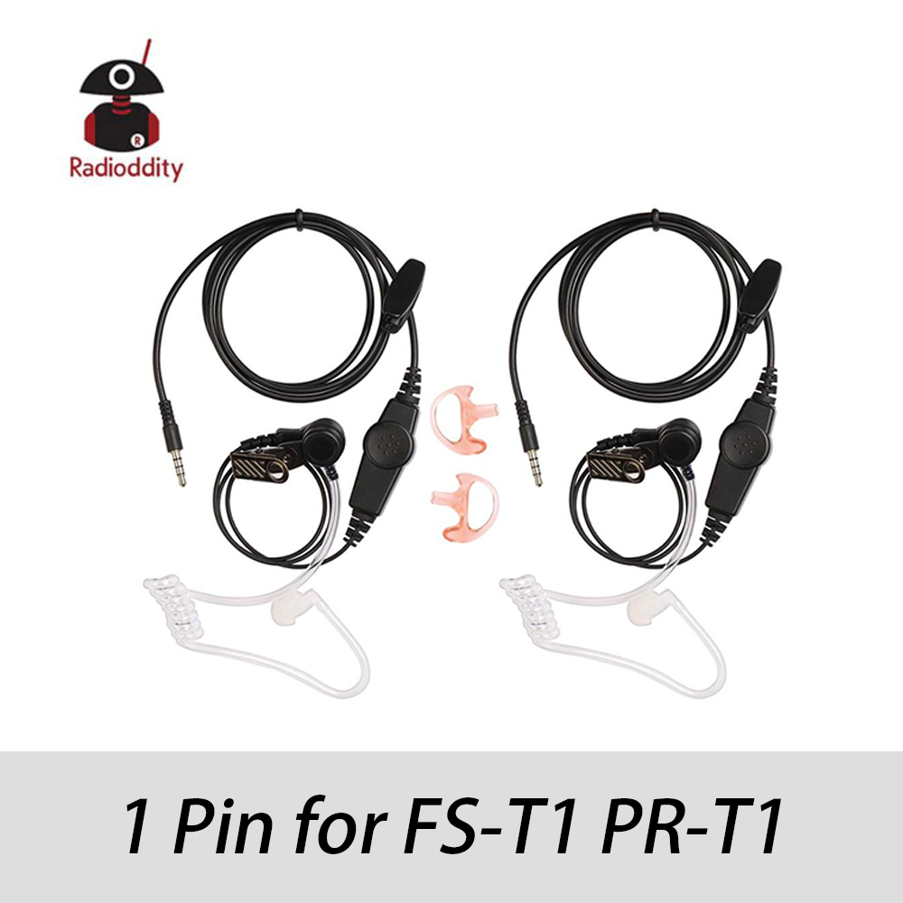 Radioddity 1-pin Walkie Talkies Acoustic Tube Earpiece With Earmold Earbud, 3.5mm Compatible With Radioddity FS-T1 PR-T1, 2 Pack