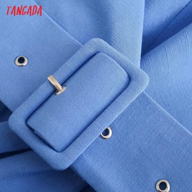 Tangada Women's Summer Dress Blue Dress With Belt Strap Adjust Sleeveless 2021 Fashion Lady Elegant Dresses 3H772 5