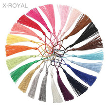 X-ROYAL 100Pcs/lot Chinese Knot Ethnic Style Polyester Long Tassels 80mm Handmade Rayon Thread Tassel Charms DIY Making Findings