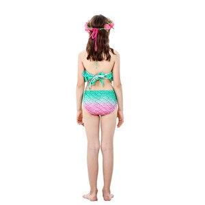 Image 5 - Meisjes Zeemeermin Staarten Kids Badpak Kostuums Met Monofins Bikini Zwemmen Cosplay Voor Kinderen Badmode