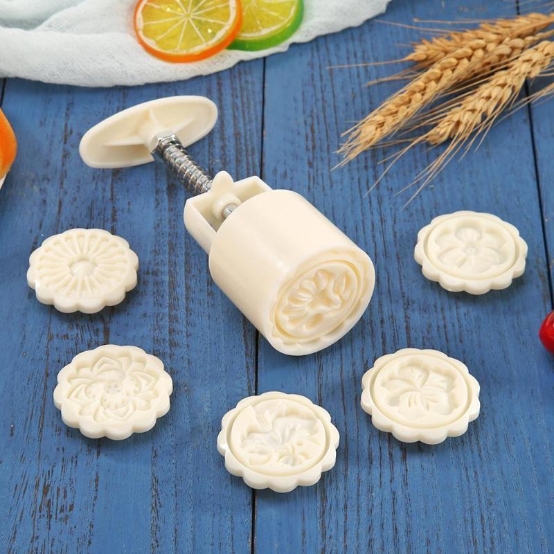 Ice Skin Mooncake Dessert Mold White Plastics 6 Patterns DIY Decoration Hand Pressure Kitchen Baking Cutting Accessories