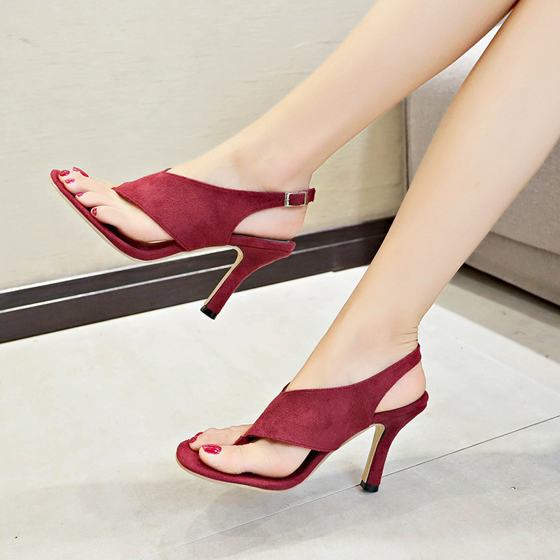 2020 New Summer Sandals Slippers Thin High Heels Sandals Flip Flop Sexy Women Shoes Pumps Wine Red Casual Medium Shoes