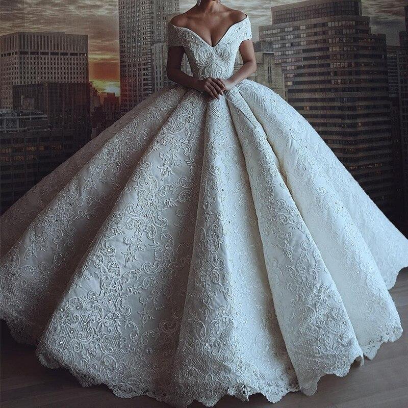 Sexy Luxury Lace Wedding Dress Ball Gown Deep V-Neck Off Shoulder Bride Dress Wedding Gown Open Back Long Vestido De Noiva