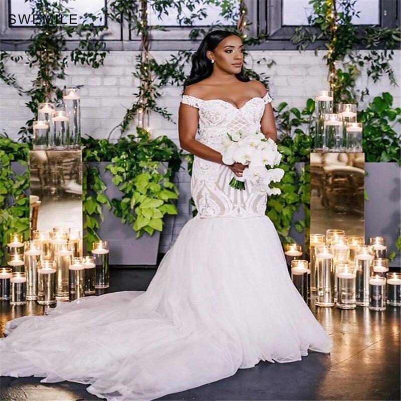 Romantic Mermaid Lace Wedding Dresses With Train Robe De Mariee Sexy Up Back Cap Sleeve Bride Dress Vestido Noiva