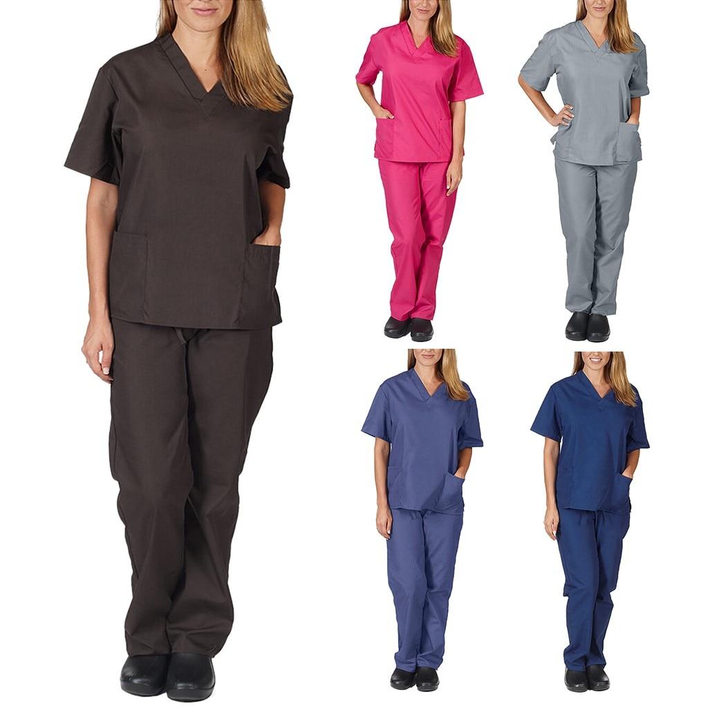 Men & Women Two Piece Suit Casual Short Sleeve V-neck Pocket Solid Color Tops+pants Nursing Working Uniform Set Doctor #R20