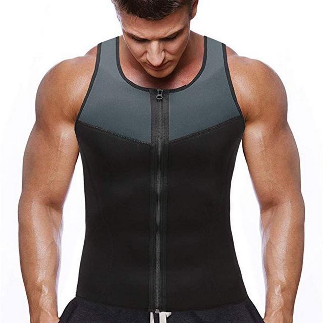 Tank top men Sauna vest bodybuilding clothes Sweaty Waist Trainer fitness Workout Gym Zipper Vest bodyshaper vest