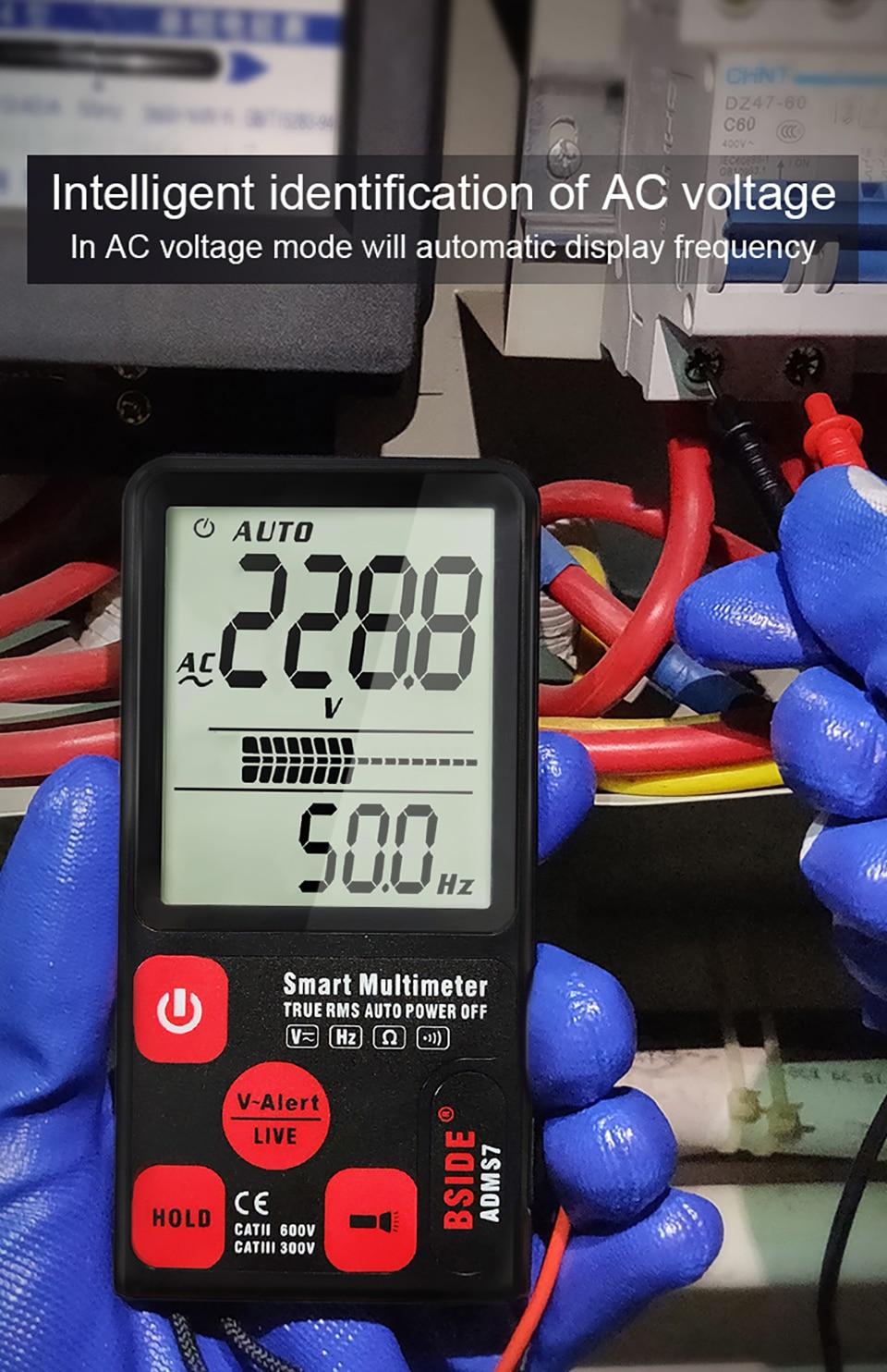 "H787d0f23d1414e2dabda7c0080ae8c8dX Ultra-Portable Digital Multimeter BSIDE ADMS7 S9CL Large 3.5"" LCD 3-Line Display Voltmeter DMM AC DC Voltage NCV Ohm Hz Tester"