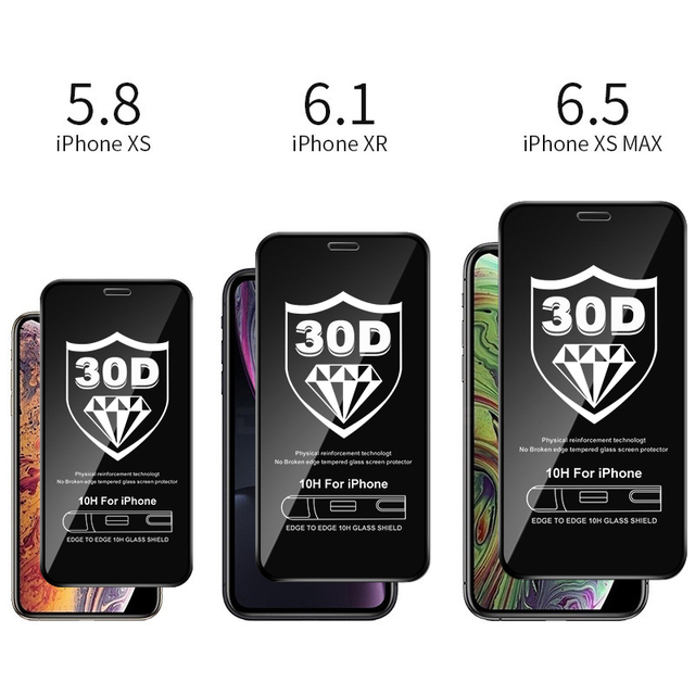 30D Full Cover Tempered Glass For iPhone 11 Pro Max Glass X XS Max XR Screen Protector Glass On For iPhone 6 6s 7 8 Plus X Film