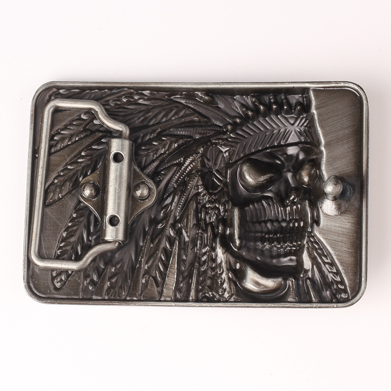 Indian Indigenous Tribal chief head belt buckle Belt DIY accessories Western cowboy style Smooth belt buckle  Punk rock style k8