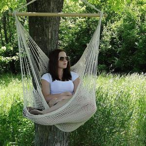 Image 4 - ALLOET Large Cotton Rope Net Hammock Chair Portable Outdoor Camping Hanging Sleeping Bed Indoor Adult Children Kids Swing Chair