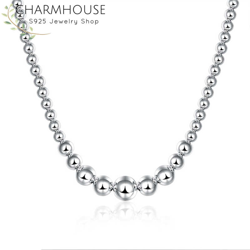 Silver 925 Necklaces For Women Buddha Bead Pendant & Necklace Link Chain Collier Choker Fashion Jewelry Accessories Party Gifts