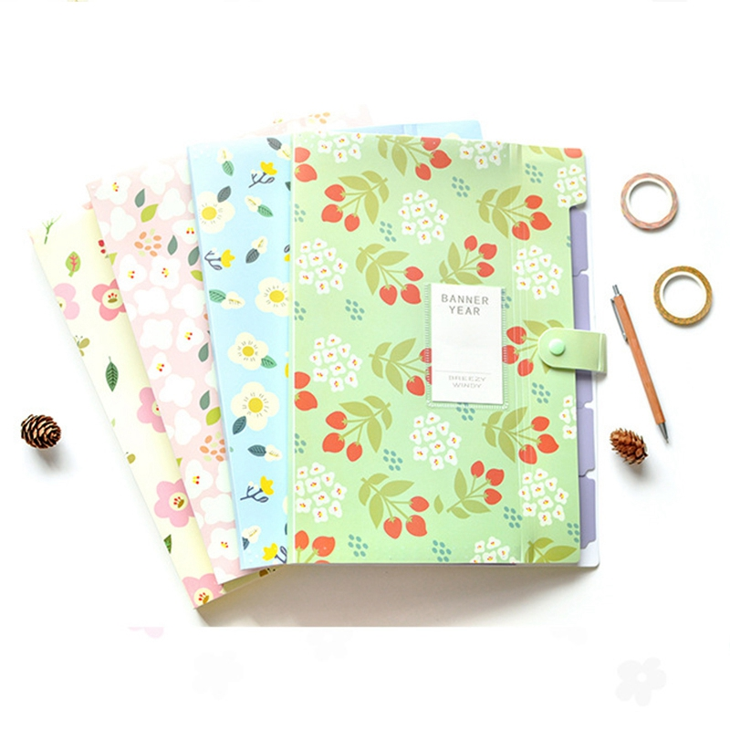 Floral Printed Accordion Document File Folder Expanding Letter/A4 Organizer (set Of 4)