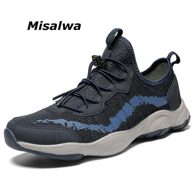Misalwa Outdoor Knit Breathable Shoe for Men Comfortable Mesh Sneaker Lightweight Soft Loafers Size 39 45 46 Wholesale Dropship