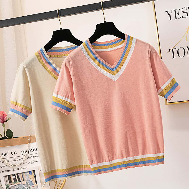 Large Size Dress New Style V-neck Mixed Colors Slim Fit Elasticity Sweater Korean-style Fat Mm Sweater Manufacturers Direct Supp