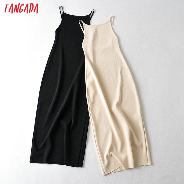 Tangada 2021 Fashion Women Solid Beige Black Backless Sweater Dress Sleeveless O Neck Ladies Midi Dress AI73 1