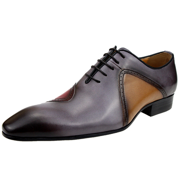 shoes  Genuine formal mens shoe Cow leather zapatos social lace_up male wedding dress sapato loafer oxford mixed colors