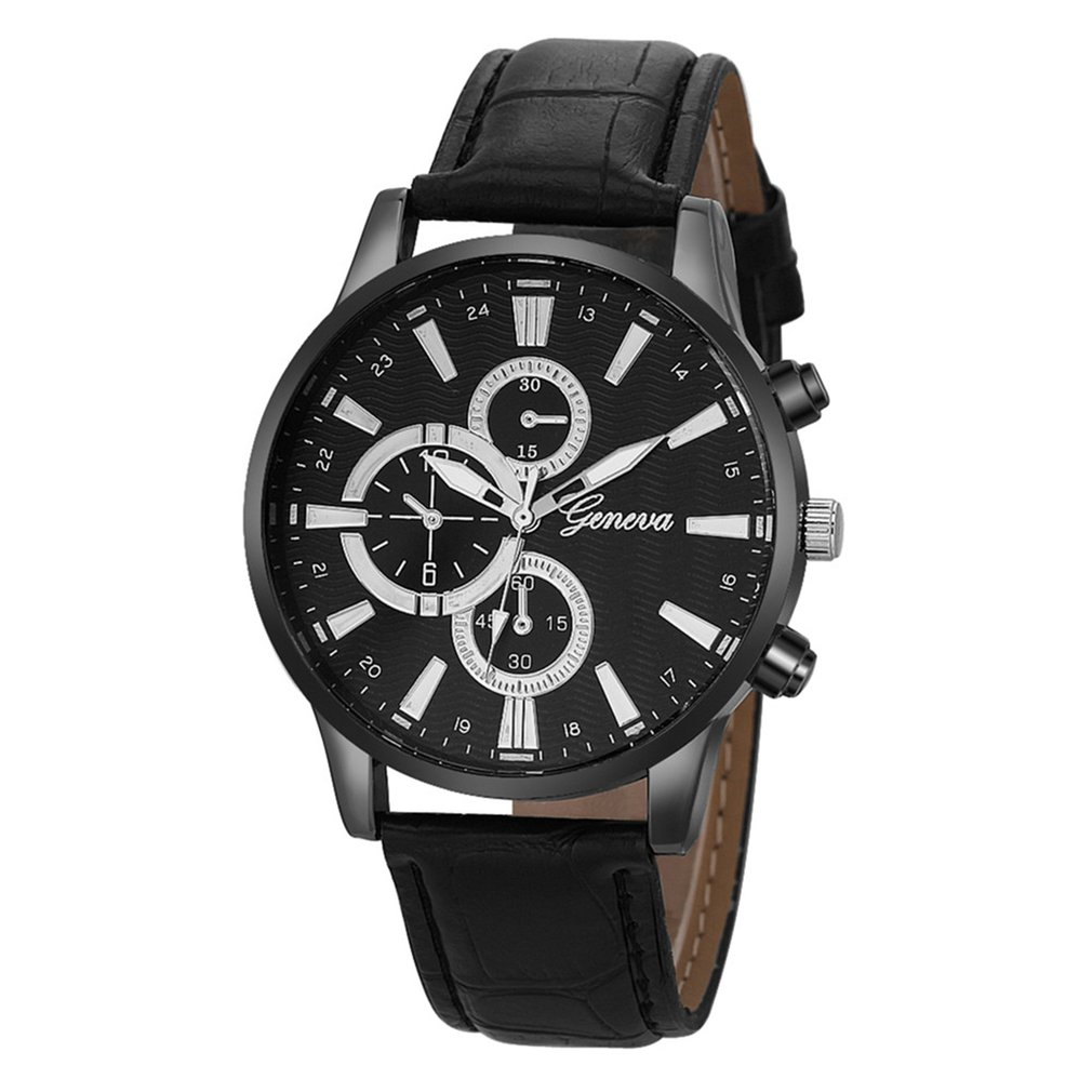 Leather Band Female Exquisite Round Dial Casual Elegant Mans Wristwatches Fashionable Band Fashion Grid Scale Male Watch