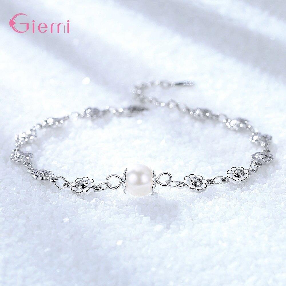 New Fresh 925 Sterlig Silver Plum Flower Pearl Charm Bangle Bracelet for Women Girl Fashion Trendy Jewelry Gift Ornament 1