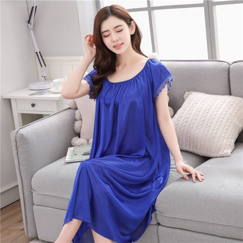 10-Color Pajamas Women's Xia Bing Silk Short Sleeve Sexy Nightgown Model Silk Thin Sweet Home Wear Students