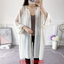 White Coat Cardigan Women's Jacket Plus-Size Short-Sleeved Casual Summer And 9XL Loose