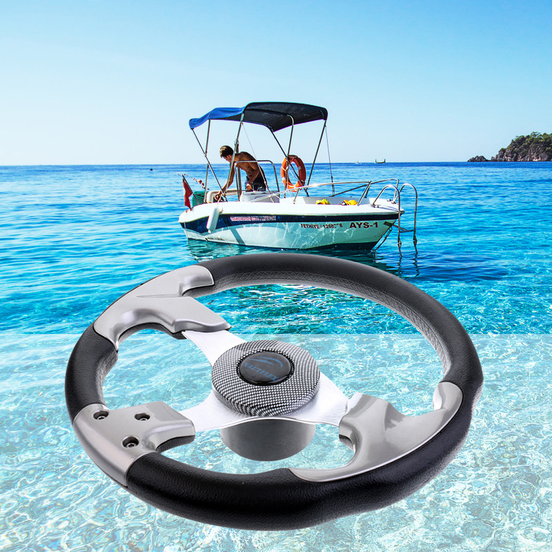 """Boat Steering wheel W// Adapter 3 spoke boats with a 3//4/"""" tapered key Marine Blue"""