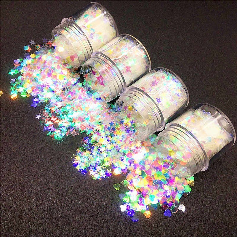 10ml/bx Glitter Mermaid Nail Flakes Sequins Mixed Star Heart Round Shape Paillette Nail Art Polish Holographic Decor Tips