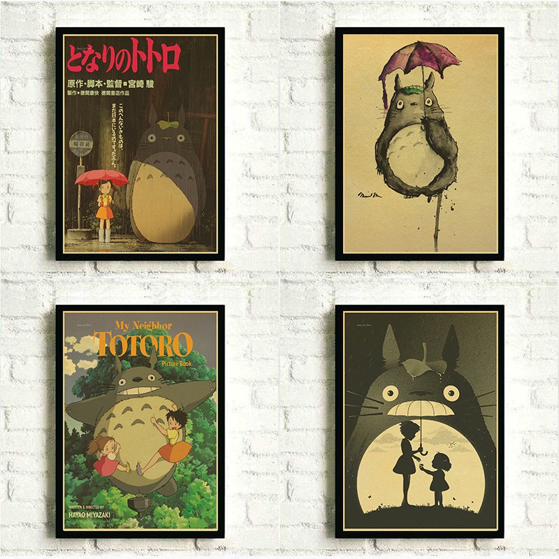 Hayao Miyazaki Anime Movie Totoro Posters Kid Room Home Wall Decor Retro Kraft Paper Print Painting Crafts Cartoon Anime Poster image