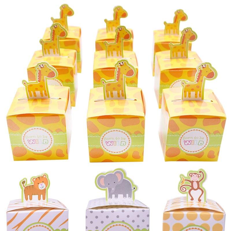 Animal Tiger Elephant Giraffe Monkey Candy Box Theme Animal Party DIY Paper Box For Kids Birthday Party Baby Shower Favor Box