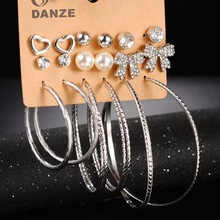 9 Pairs of New Pearl Bow Love Big Circle Earrings Gold Color Hoop Ladies Round Huggie Creole Rhinestone Ear