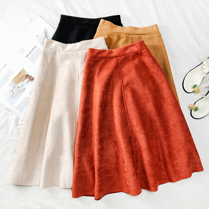 Women's Skirts Mid Calf Suede Leather Skirt Pleated Velvet High Waist Stretched Saia Midi Skirts Female Clothing