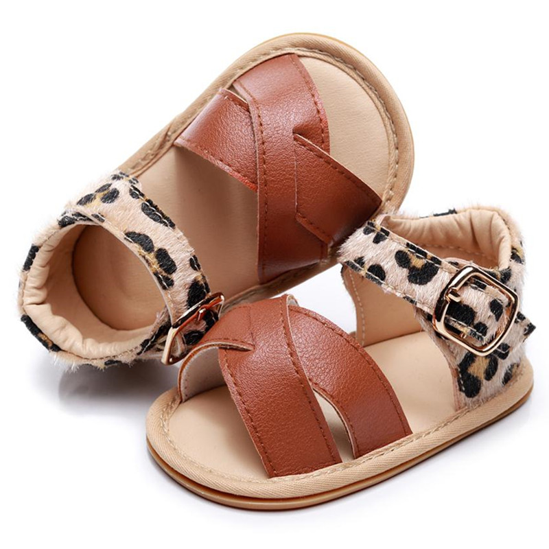 Dropshipping Leopard Hard Sole Baby Sandals Newborn Baby  Toddler Sandals Anti-slip Buckle Baby Shoes Prewalkers