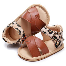 Dropshipping Leopard Hard Sole Baby Sandals Newborn Baby Tod