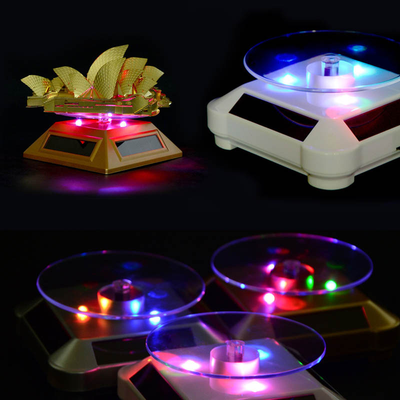 LED Light Solar Jewelry Display Stand 360 Rotating Showcase Necklace Bracelet Watch Ring Show Turntable S55