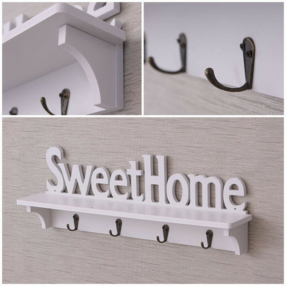 """""""SweetHome"""" Keys/&Clothes Wooden Hanger Wall Mounted Hook Home Door Decor 4 Hooks"""