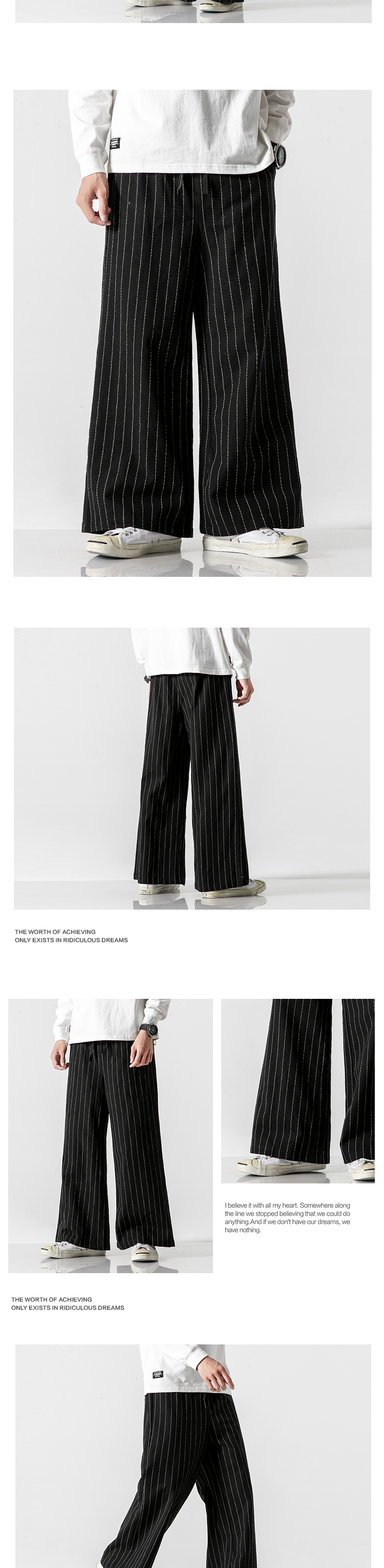 Sinicism Store Men Striped Chinese Style Wide Leg Pants Mens 2020 Japan Style Loose Trousers Male Oversize Vintage Casual Pants 35