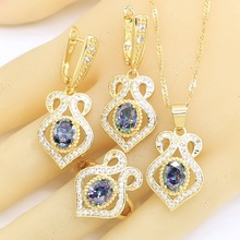 Jewelry-Sets Earrings Necklace Pendant Gold-Color Women for Gift-Box Rainbow-Semi-Precious