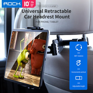 Image 1 - ROCK Car Phone Holder Mount for iPad Mini Pro Tablets Phones Rear Sea Stand Pillow Holder Stand Holder for iPhone держател