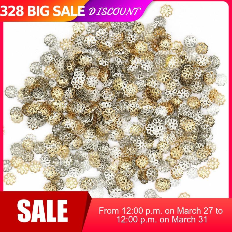 1000pcs/lot 6mm 9MM Silver Plated Flower petal End Spacer Beads Caps Charms Bead Cups For Jewelry Making(yiwu)