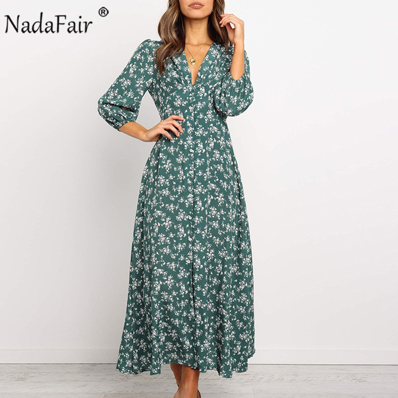 Nadafair Summer Floral Midi Dress Sexy V Neck Buttons A-Line Casual Long Sleeve Printed Boho Chiffon Dress Women