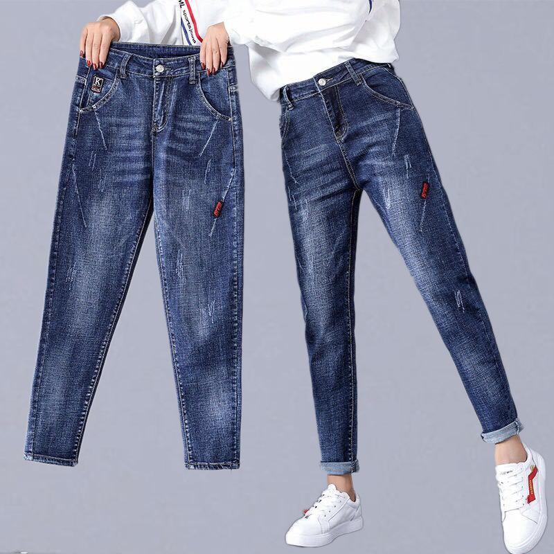 Plus Size Casual Jeans Women New Autumn Fashion Korean Style High Waist Boyfriend Jeans Female Denim Pencil Pants P117