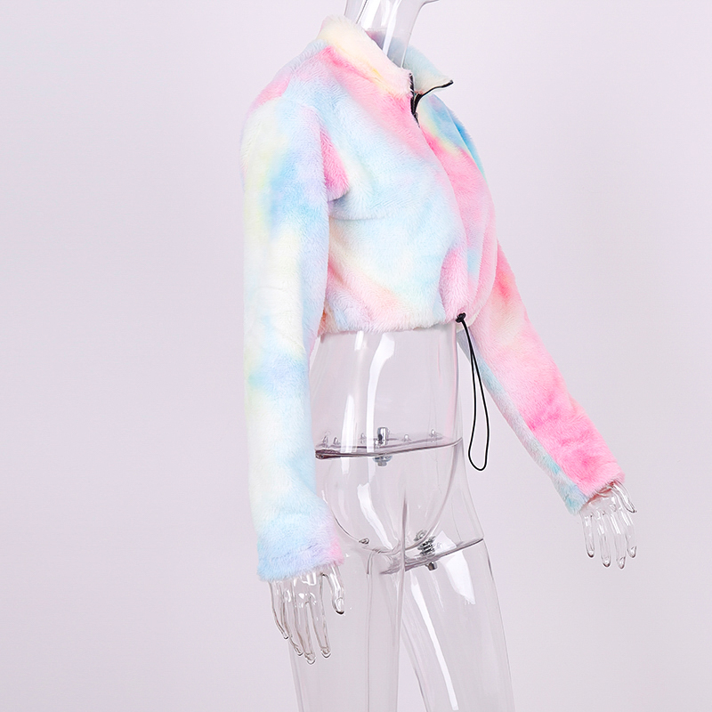H787e6a825d914f648b12896e8283628fO Hugcitar long sleeve zipper high neck Faux lambswool crop tops 2018 autumn winter women fashion solid coat jacket