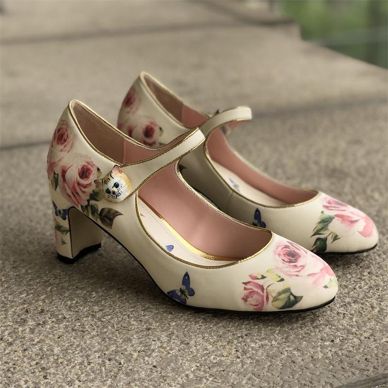 Printing Mary Janes Shoes Women Med Heels Pumps Women Autumn Retro Sapato Feminino Cozy Round Toe Ladies Shoes Zapatos De Mujer