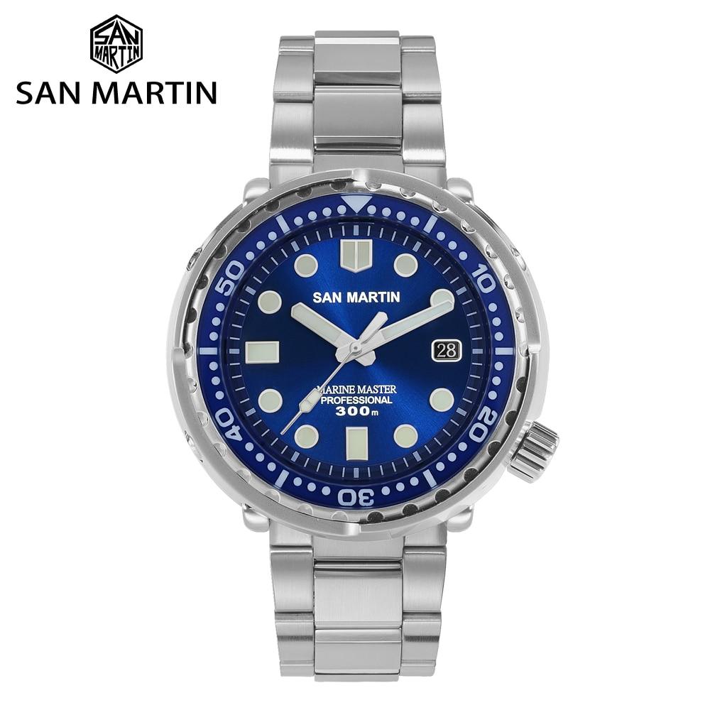 San Martin Diver TUNA Stainless Steel Watch NH35 Sapphire Enamel Sunray Men Automatic Mechanical Watches Blue Super Luminous