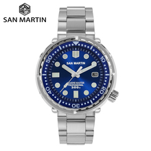 San Martin Diver TUNA Stainless Steel Watch NH35 Sapphire Enamel Sunray Men Automatic Mechanical Watches Blue Super Luminous