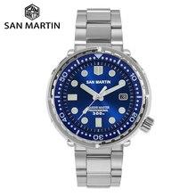 San Martin dalgıç ton balığı paslanmaz çelik izle NH35 safir emaye Sunray erkekler otomatik mekanik saatler mavi süper parlak